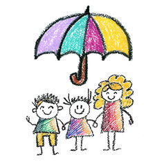 Family social protection Insurance Kids drawing Children drawing Pencil, crayon, chalk, pastel illustration Health care