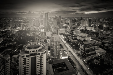 Bangkok night cityscape with modern buildings
