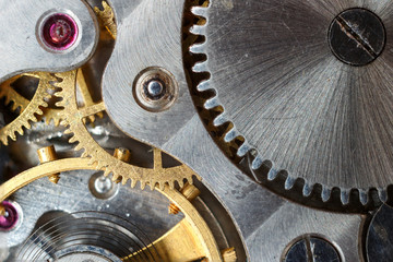 The clock mechanism close-up