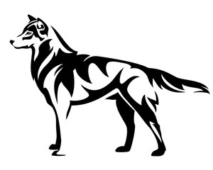 standing wolf side view - black and white vector design