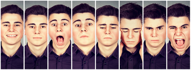 Collage of a man expressing different emotions