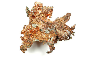 copper nugget isolated on white background