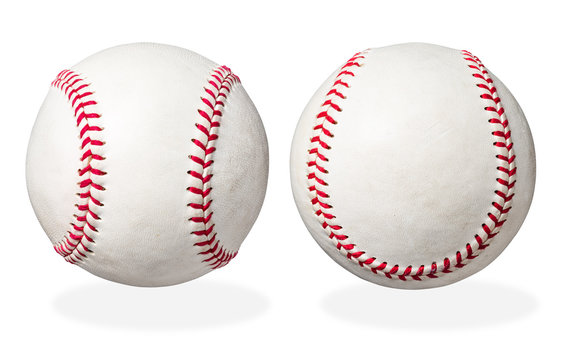 two used baseball isolated on white background, with clipping path