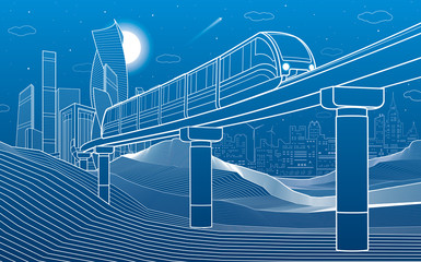 Monorail in mountains. Transportation illustration. Tower and skyscrapers, modern city, business buildings. Night scene. White lines on blue background . Vector design art