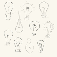 Set of sketch bulbs. Vector hand drawn illustration.