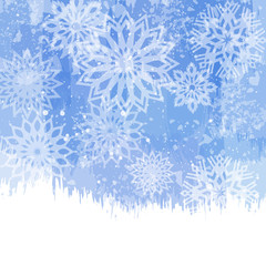 Winter background with snowflakes. Christmas design.