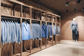 Hangers with business suits in a row in the interior of a business suit shop and expensive premium clothes.