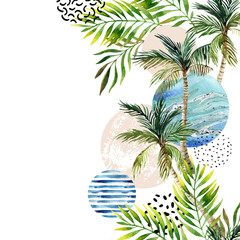 Door stickers Graphic Prints Abstract summer tropical palm tree background.