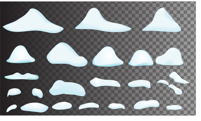 snow big set cartoon. snowdrift in vector. Set of different bank of snow, isolated. Video Game, mobile, app