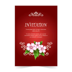 Invitation card, wedding card with Cherry blossom bouquet on red