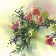 red and green apples watercolor background