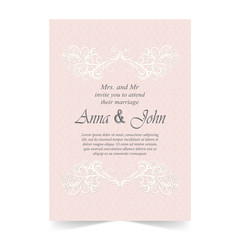Wedding card, Invitation card with ornamental on pink background