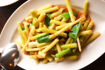 Close up Chinese Food,Stir fried Bamboo shoots in taiwan