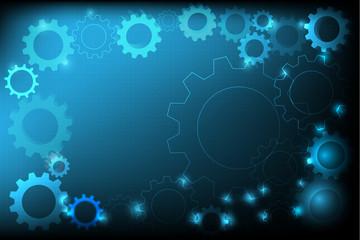 gear engineering construction template design blue background, vector illustration