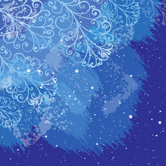 Winter Christmas background with hand drawn elements. Vector ill