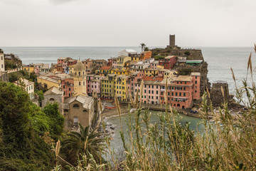 Cinque terre Vernazza panorama, Italy
