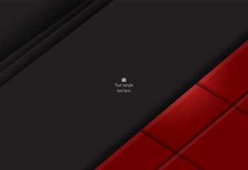 Red and black abstract material design for background, card, annual business report, brochure, poster template