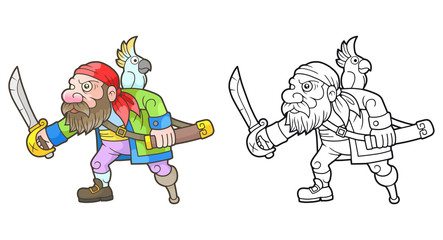 cartoon pirate with a parrot prepares for battle