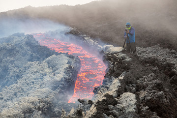 Effusive Activity at Mount Etna Volcano in italy