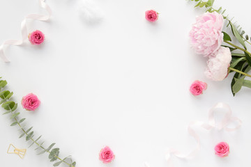 Flower flat lay, peonies, roses, romantic, feminine background with white space