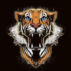 голова тигра на абстрактном фоне