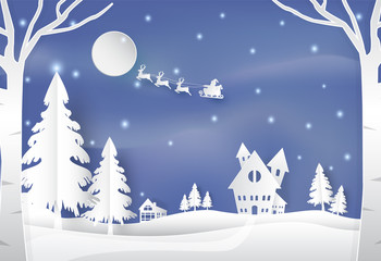 Winter holiday santa and deer with snow nature background
