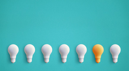 One light bulb outstanding,glowing different.business creativity idea concepts.flat lay