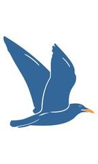 Blue flying bird logo