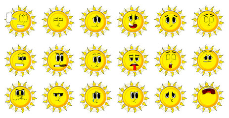 Cartoon sun collection with sad faces. Expressions vector set.