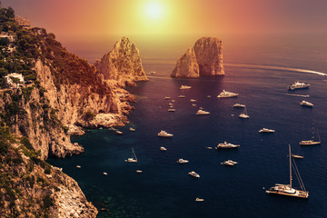 Faraglioni, Capri island, in sunrise light