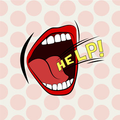 Cartoon mouth loud help. Stylish colored design. Scream, shout, cry.