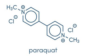 Paraquat herbicide molecule Skeletal formula.