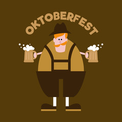 Oktoberfest banner. Man with beer. Stamp for flyer and t-shirt.