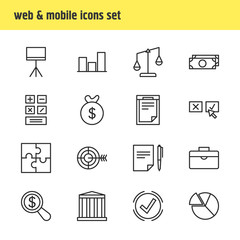 Vector Illustration Of 16 Business Icons. Editable Pack Of Calculate, Portfolio, Chart And Other Elements.