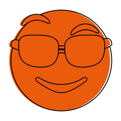 Orange monocromatic cool emoji design over white background vector illustration