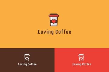 Loving Coffee Logo Illustration