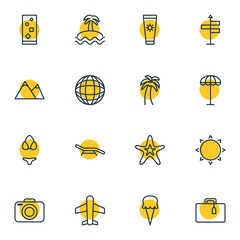 Vector Illustration Of 16 Summer Icons. Editable Pack Of Airplane, Suitcase, Fish And Other Elements.