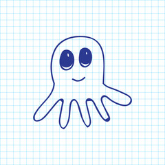 Vector Illustration Of Zoology Symbol On Octopus Doodle. Premium Quality Isolated Squid Element In Trendy Flat Style.