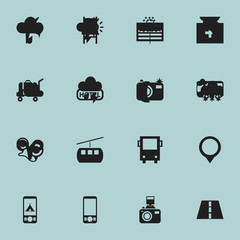 Set Of 16 Editable Trip Icons. Includes Symbols Such As Pin, Trading Purse, Aircraft And More. Can Be Used For Web, Mobile, UI And Infographic Design.