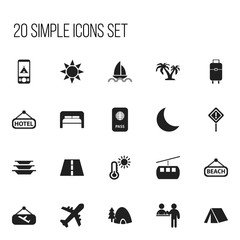 Set Of 20 Editable Journey Icons. Includes Symbols Such As Tree, Tent, Flight Signboard And More. Can Be Used For Web, Mobile, UI And Infographic Design.