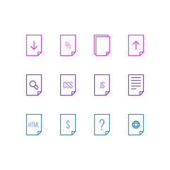 Vector Illustration Of 12 File Icons. Editable Pack Of Percent, Copy, Search And Other Elements.