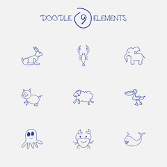 Set Of 9 Editable Zoo Doodles. Includes Symbols Such As Pelican, Cachalot, Swine And More. Can Be Used For Web, Mobile, UI And Infographic Design.