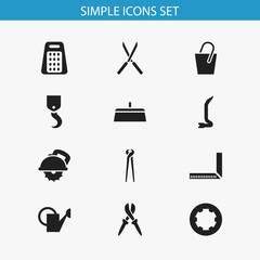 Set Of 12 Editable Tools Icons. Includes Symbols Such As Pliers, Garden Scissors, Handle. Can Be Used For Web, Mobile, UI And Infographic Design.