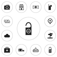 Set Of 12 Editable Journey Icons. Includes Symbols Such As Location, Hotel, Overcast And More. Can Be Used For Web, Mobile, UI And Infographic Design.