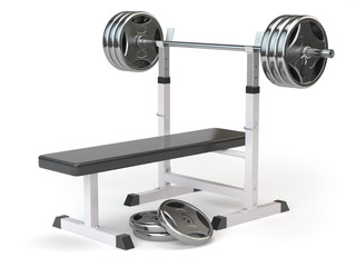 Barbell bench isolated on white.