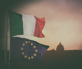 European Union and Italy flag.