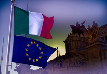 European Union and Italy flag Wall mural