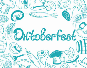 Oktoberfest German beer party. Poster with national traditional food and items in the doodle style. Hand drawn lettering