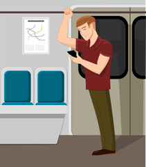 Man watching phone in metro train