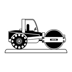 steamroller construction heavy machinery icon image vector illustration design  black and black and